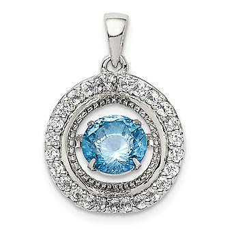 925 Sterling Silver White Topaz and Vibrant Light Swiss Blue Topaz Pendant Necklace Jewelry Gifts for Women