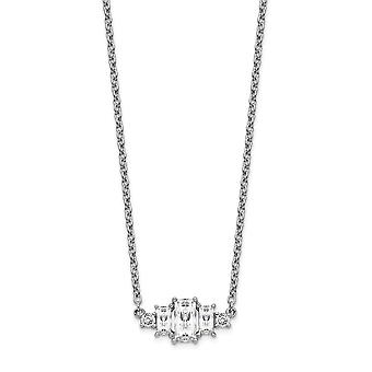 14.45mm Cheryl M 925 Sterling Silver Brilliant cut and Emerald cut CZ Cubic Zirconia Simulated Diamond Bar Necklace 18 I