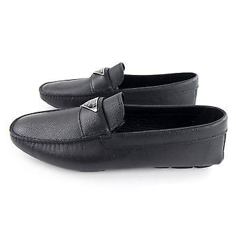 Prada Saffiano Cuir Driving Loafers Nero