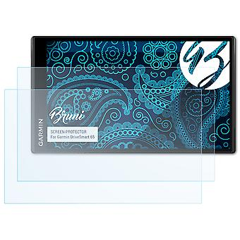 Bruni 2x Schutzfolie kompatibel mit Garmin DriveSmart 65 Folie
