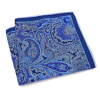 Purple & blue paisley large 33cm hanky pocket square