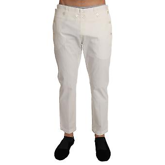 Dolce & Gabbana White Cotton Stretch Casual Trousers Pants