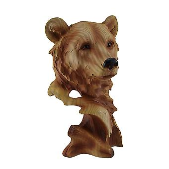 Head of the Pack Wood Finish Bear Head Statue