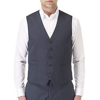 Skopes Mens Sharpe Big Tall Button Front Adjustable Back Suit Waistcoat - Blue