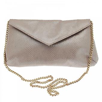 Sabrina Chic Gold Fold Over Clutch With Chain