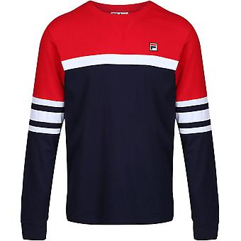 Fila Baden Colorblock Long Sleeve T-Shirt Navy 98