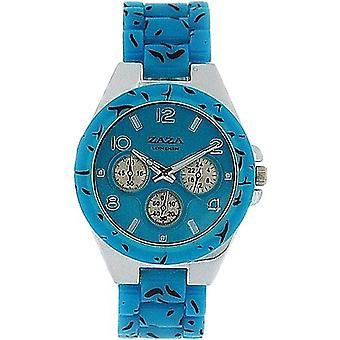 Zaza London Chrono-Look Leopard Design Turquoise Strap Ladies Watch PL41