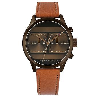 Tommy Hilfiger Watches 1791594 Men's Brown Stainless Steel Brown Leather Dual Time Men's Watch
