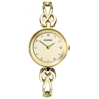 Sekonda Ladies Round Stone Set Champagne Dial Gold Celtic Bracelet Watch 2644
