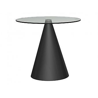 Gillmore Round Clear Glass Dining Table With Conical Black Base