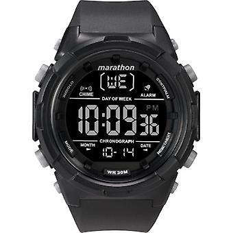 Tw5M22300, Maratón por Timex Hombres'S Tw5M22300 Digital 50Mm Negro / Resina Negativa Correa Reloj