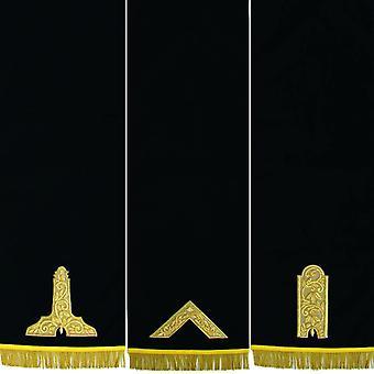 Le piédestal bleu maçonnique couvre la main brodée - ensemble de trois