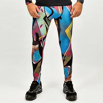Trun - Men's sports leggings with graffiti design