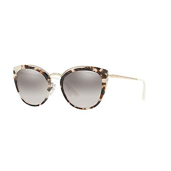 Prada Spotted Opal Brown-Pale Gold/Gradient Grey Mirror Silver Glasses