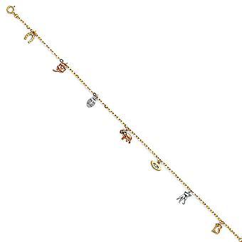 14k giallo oro bianco oro e rosa oro fortunato catena braccialetto ankletto 9 pollici gioielli regali per le donne