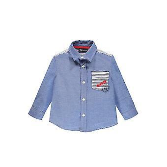 Brums Milano Chambray Shirt With Striped Inner Lining