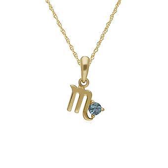Blue Topaz Scorpio Zodiac Charm Necklace in 9ct Yellow Gold 135P2002019