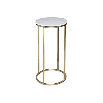 Gillmore Wit marmer en goud metalen hedendaagse ronde lamp tafel