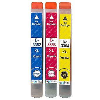 1 sæt med 3 blækpatroner til udskiftning af Epson T3357 (33XL-serien) C/M/Y-kompatibel/ikke-OEM fra Go-blæk (3 trykfarver)