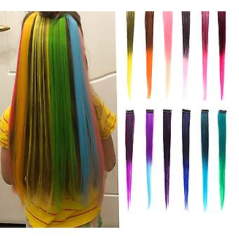 Clip In One Piece For Ombre Hair Extensions Pure Color - 2 Tone Straight Long Synthetic Fake Hair
