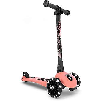 scoot and ride highwaykick 3 led folding scooter peach ages 3-6 years