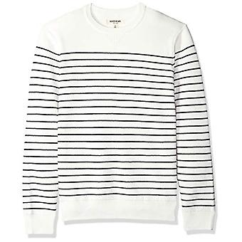 Goodthreads Men's Soft Cotton Striped Crewneck Sweater, White/Navy, XX-Large ...