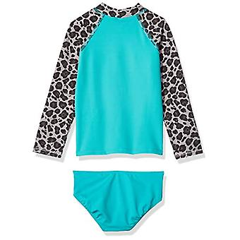 Brand - Spotted Zebra Big Girls' Swim Rashguard with Bottom, Grey Chee...