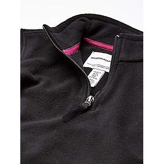 Essentials Girl's Quarter-Zip Polar Fleece Jacket, Black, Large