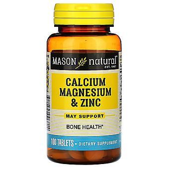 Mason Natural, Calcium Magnesium & Zinc, 100 Tablets