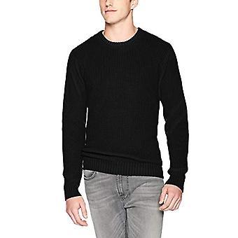 Goodthreads Men's Soft Cotton Rib Stitch Crewneck Sweater, Solid Black, Large...