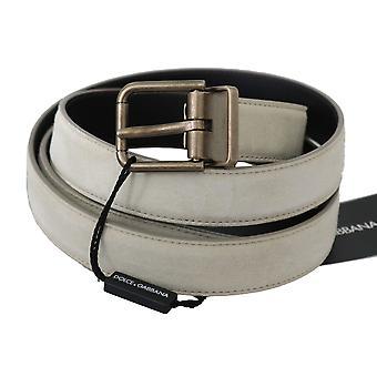 Dolce & Gabbana White Leather Brushed Gold Buckle Belt BEL60354- 105