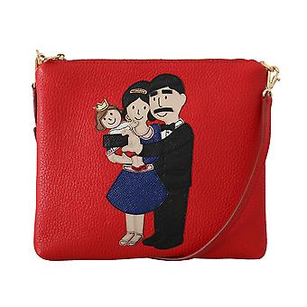 Red leather dgfamily messenger purse