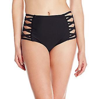 Märke - Coastal Blue Women's Badkläder Hög midja Bikini Botten, Ebony,...