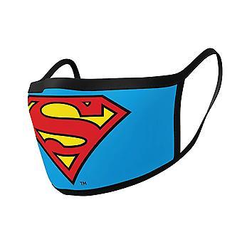 Superman logo kolmikerroksinen puuvillakangas kasvonaamio 2PK