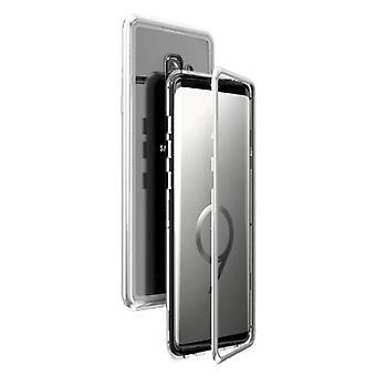 الاشياء المعتمدة® سامسونج غالاكسي S9 المغناطيسي 360 درجة حالة مع الزجاج المقزز - كامل غطاء الجسم القضية + الشاشة حامي الفضة