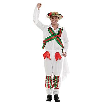 Mens Morris danser Britse hert nacht nieuwheid Fancy Dress kostuum