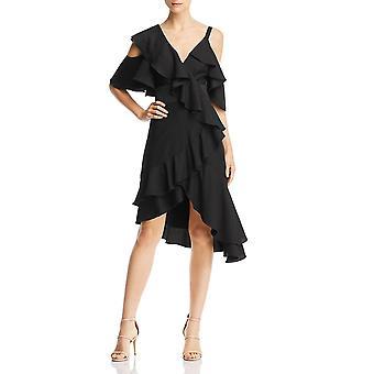Laundry by Shelli Segal   Asymmetric Ruffled Cold Shoulder Dress