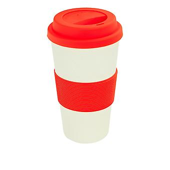 Reusable Coffee Cup - Bamboo Fibre Travel Mug with Silicone Lid, Sleeve - 400ml (14oz) - Red