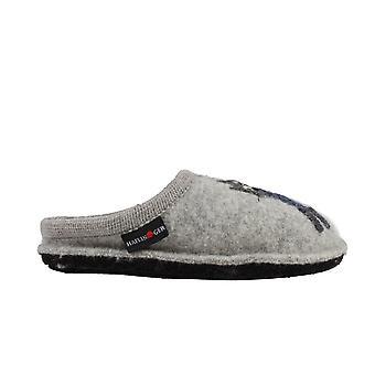 Haflinger Cucho Grey Wool With Cat Motif Womens Slip On Mule Slippers