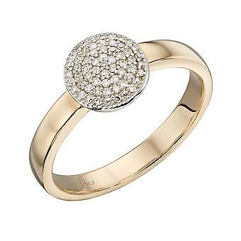 عناصر الذهب 9ct دائرة كاملة الماس خاتم الذهب الأصفر