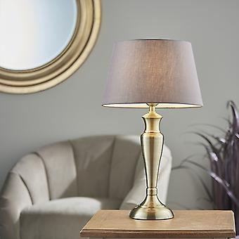 Endon Lighting Oslo & Evie - Table Lamp Antique Brass Plate & Charcoal Grey Cotton 1 Light IP20 - E27