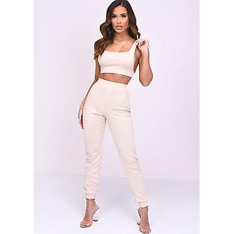 Crop Top und Jogger Loungewear Co ord Set Pfirsich rosa