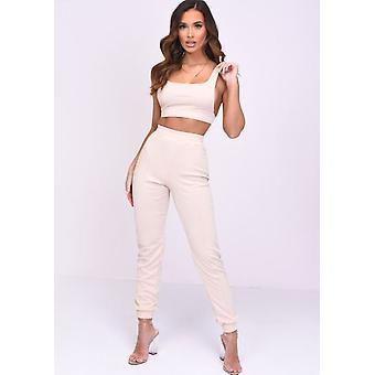 Crop Top i Jogger Loungewear Co ord Set Brzoskwinia Różowy