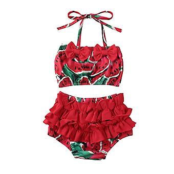 Baby Summer Pineapple & Watermelon Print Swimwear Bikini Set, Ruffle Bowknot