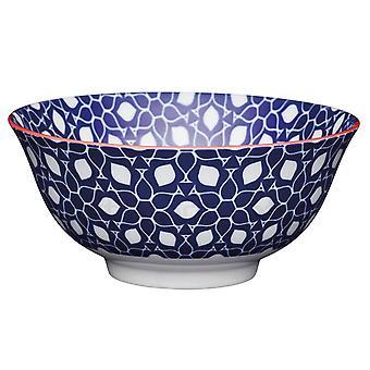 Kitchen Craft Breakfast Bowl Blue Geo Floral KCBOWL26