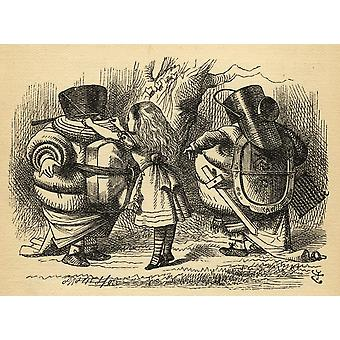 Alice With Tweedledum And Tweedledee Illustration By Sir John Tenniel 1820-1914 From The Book Through The Looking-Glass And What Alice Found There By Lewis Carroll Published London 1912 PosterPrint