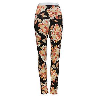 DG2 door Diane Gilman Women's Pants Orange/Black Floral Print 703-056