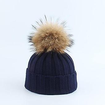 الأطفال ريال مدريد الفراء Pompom محبوك بيني قبعة وشاح مجموعة دعوى الطفل الشتاء الدافئ
