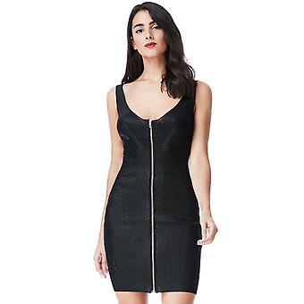 Black metallic zip detailed bodycon mini dress