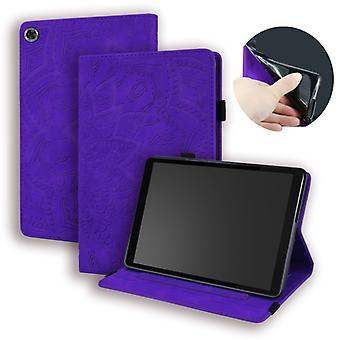 For Lenovo Tab M8 TB-8505F 8505X 8.0  Calf Pattern Double Folding Design Embossed Leather Case with Holder & Card Slots & Pen Slot & Elastic Band(Purp